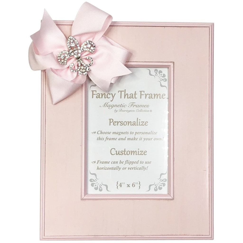 Magnetic Pink Striat Photo Frame - Removable Pink Bow with Rhinestone FDL, Fleur de' Lis