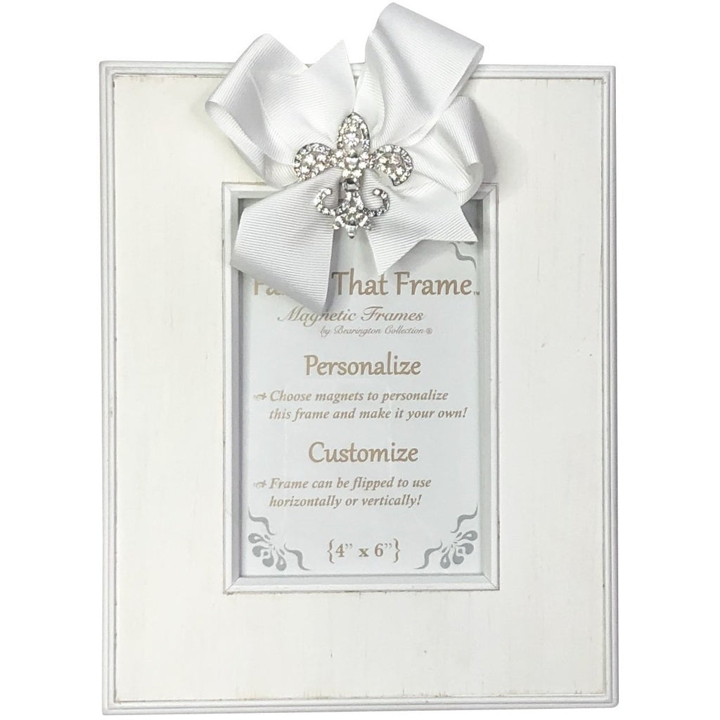 Magnetic White Striat Picture Frame - Removable White Bow with Rhinestone FDL, Fleur 'de Lis