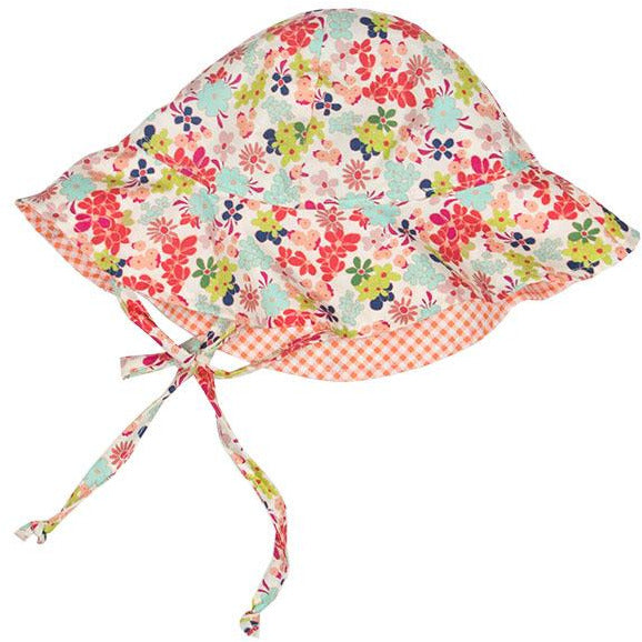 Haute Baby - Calypso Girls Summer Sun Hat, Floral Print Orange, Navy, Pink, Green