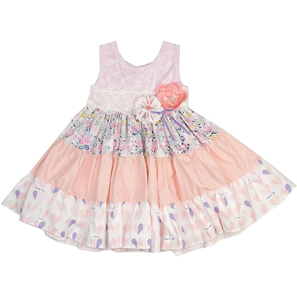 Haute Baby - Sitting Pretty Girls Swing Dress, Shades of Pink and Coral