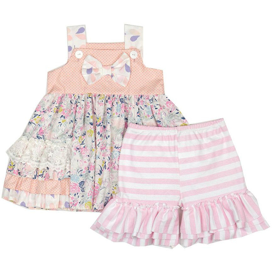 Haute Baby - Sitting Pretty Girls 2-Piece Short Swing Set, Shades of Pink & Coral