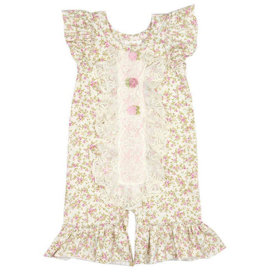 Haute Baby - Sweet Pea Girls Romper, Tiny Pink Rose Print