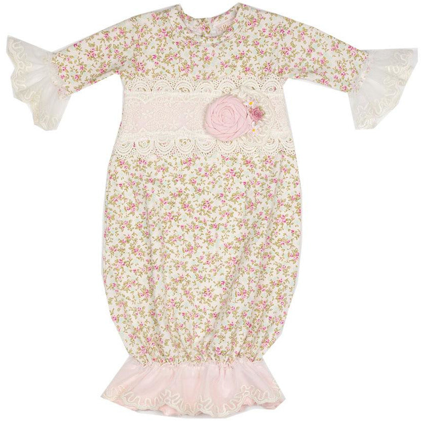 Haute Baby - Sweet Pea Baby Infant Gown, Soft Pink Vintage Tiny Roses