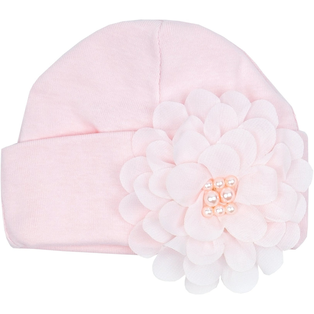 Haute Baby - Chic Petit Infant Girl Cap, Soft Pink with Soft Embellished Flower