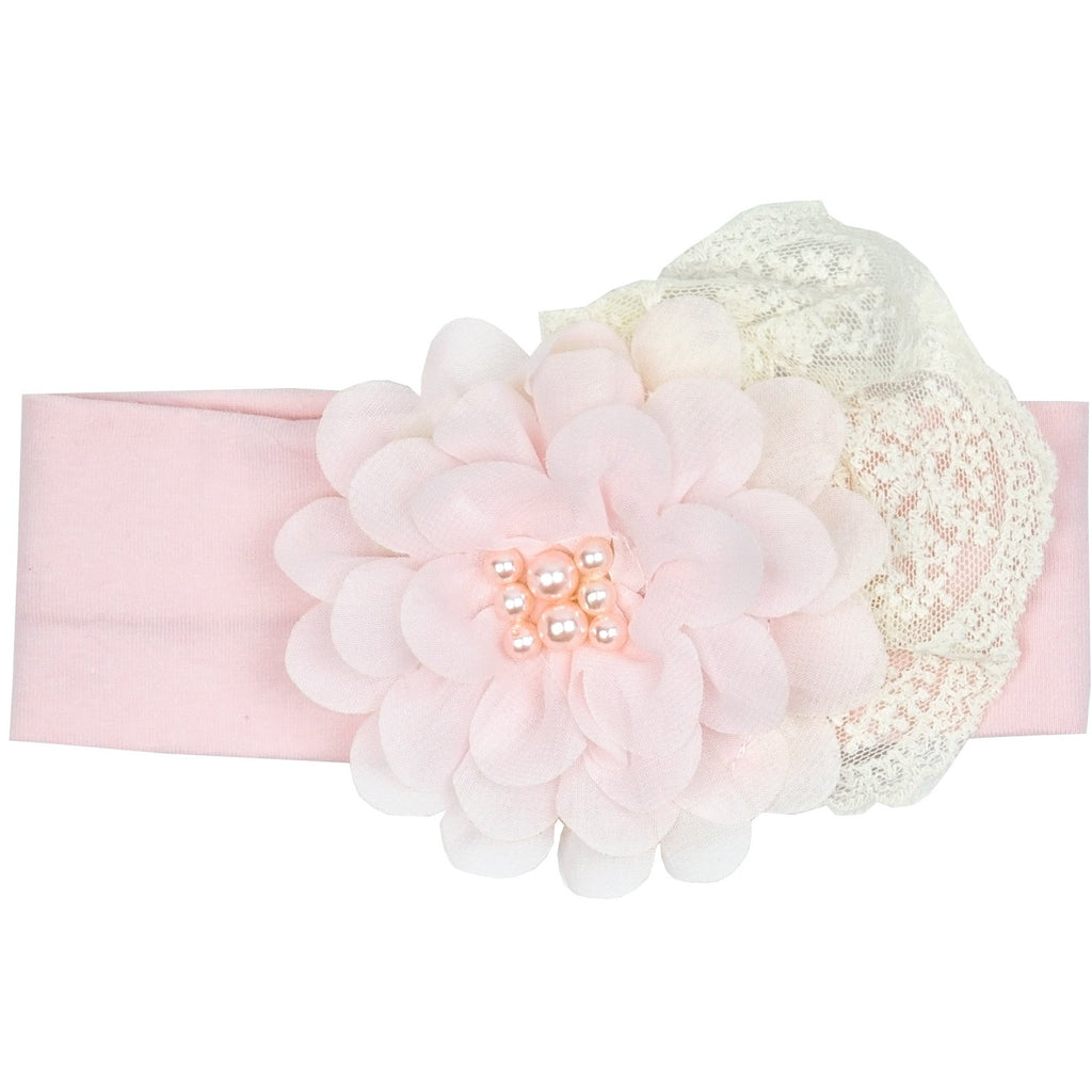 Haute Baby - Chic Petit Girls Headband, Soft Pink, Embellished Flower and Lace