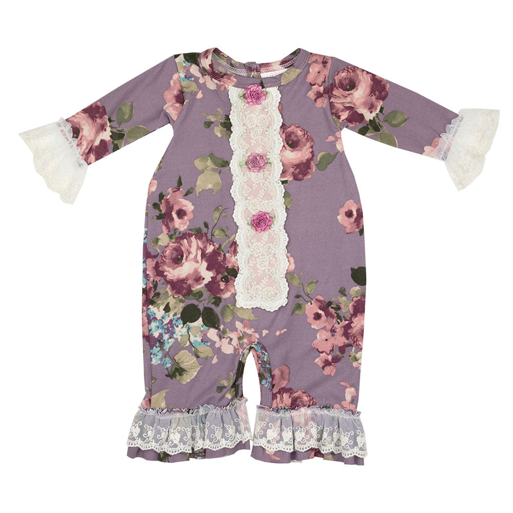 Haute Baby - Sugar Plum Girls Romper / Coverall, Vintage Floral Pattern, Shades of Rose, Pink