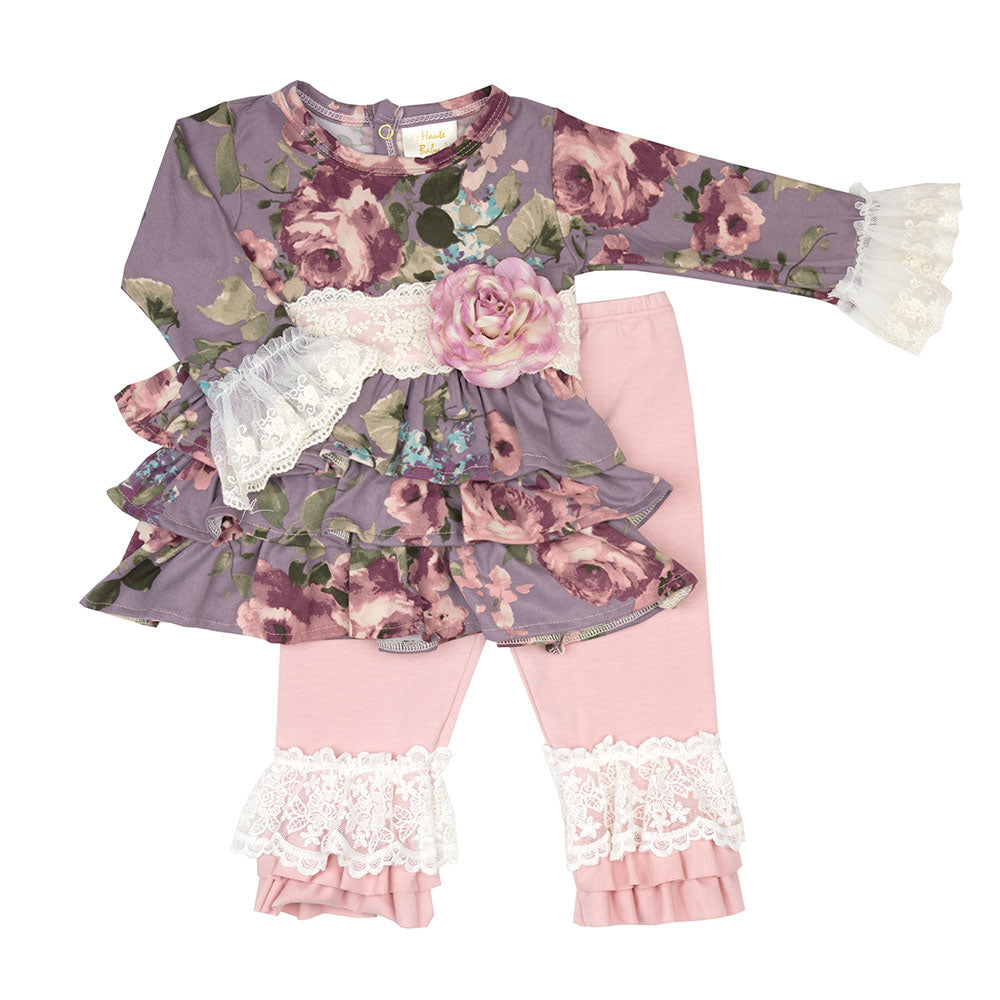 Haute Baby - Sugar Plum 2-Piece Swing Set, Vintage Lace, Floral Pattern in Shades of Rose, Pink