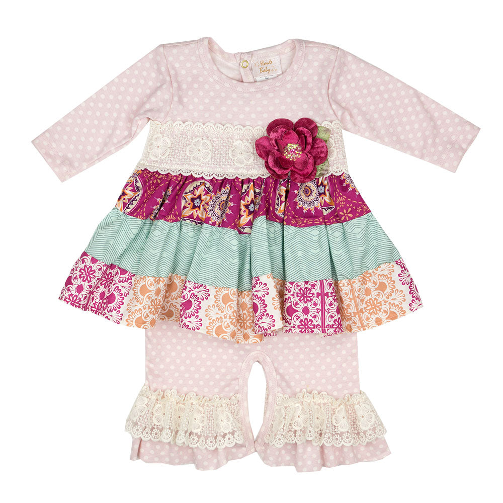 Haute Baby - Magenta Magic Girls Romper, Fall Colors Shades of Magenta, Pink, Teal, Cream & Orange