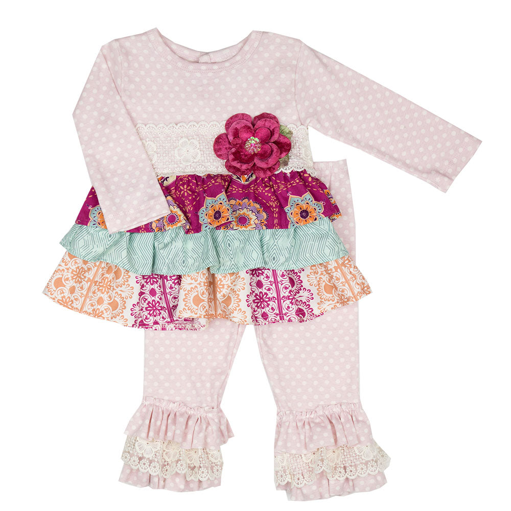 Haute Baby - Magenta Magic Girls Swing 2 Piece Pant Set, Beautiful Fall Colors
