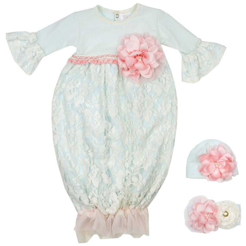 Haute Baby - Fairy Frost Infant Baby Gown, Light Blue with Soft Cream Color Antique Lace