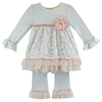Haute Baby - Fairy Frost Girls 2-Piece Swing Set, Light Blue with Antique Pink & Cream Lace