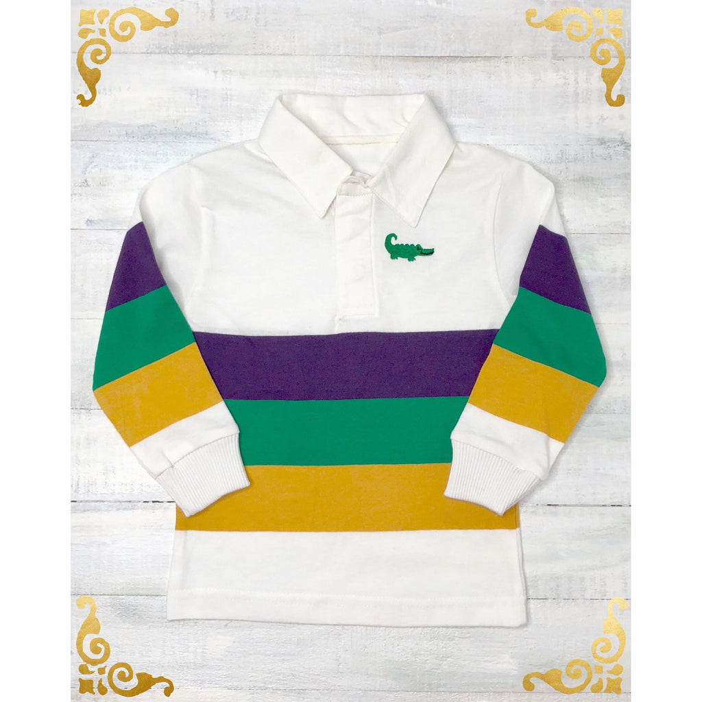 MeMe - Mardi Gras Rugby Stripe Long Sleeve Shirt, Purple, Green and Gold Broad Stripe