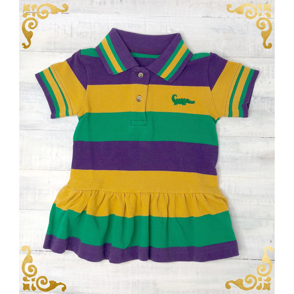 MeMe - Mardi Gras Polo Stripe Short Sleeve Dress, Purple, Green and Gold