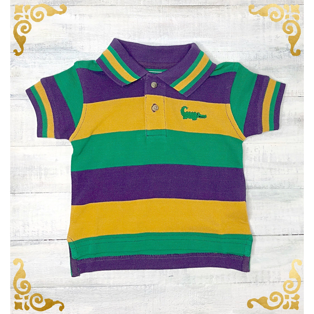 Mardi Gras Polo Stripe Shirt