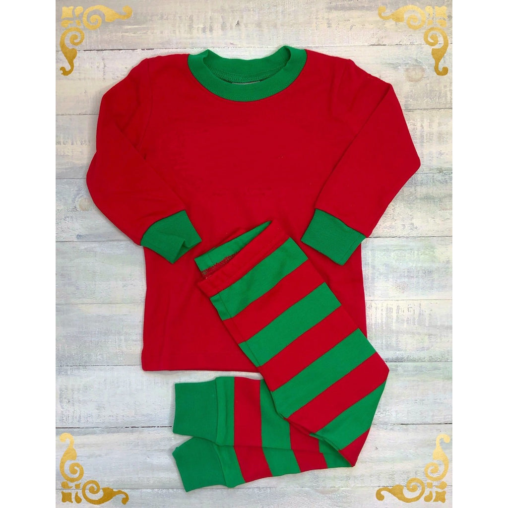 Christmas Red & Green Stripe Pajamas, Monogram Name or Initials Included,
