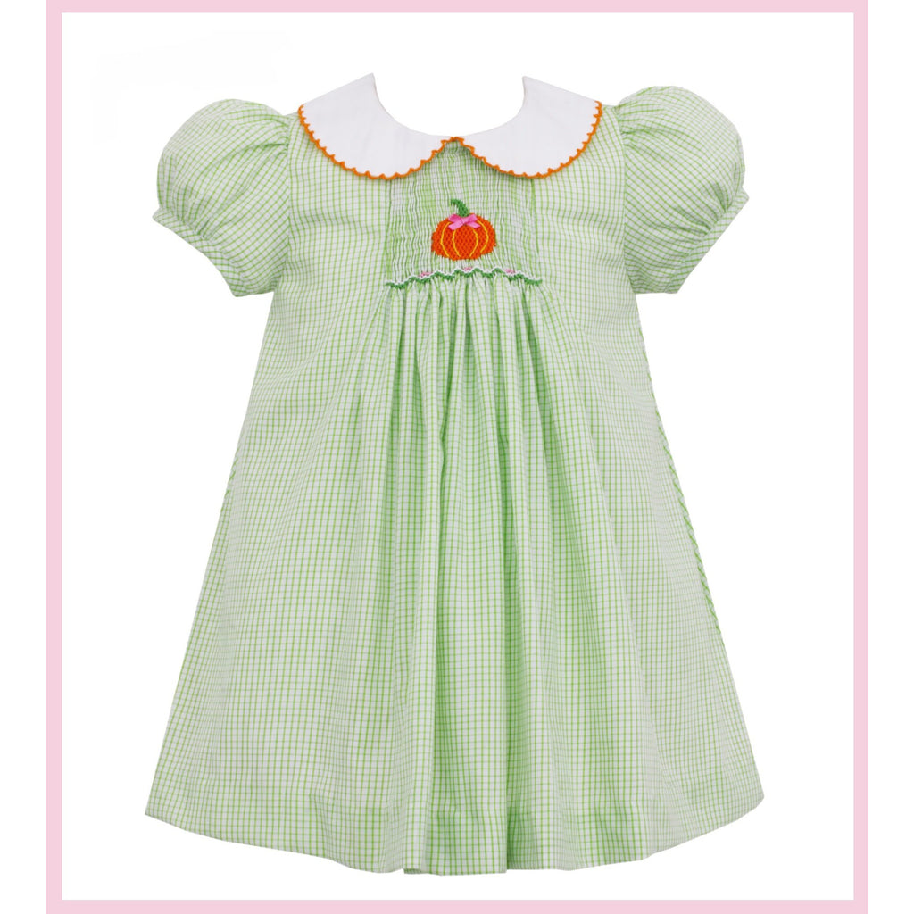 Petit Bebe - Pumpkin Smocked Float Dress SS Lime Green Check