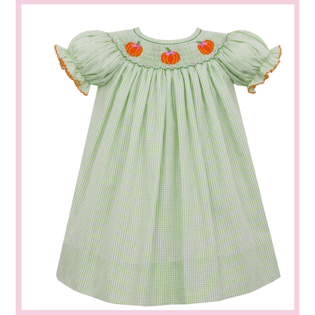 Petit Bebe -Pumpkin Smocked Bishop Lime Green Check