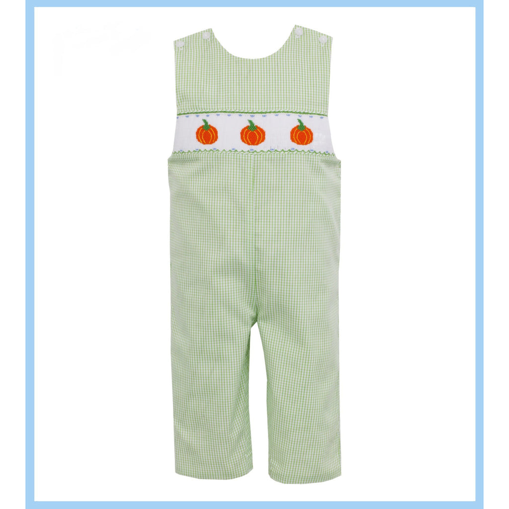 Petit Bebe - Pumpkins Smocked Long Jon Jon, Lime Green Mini Check