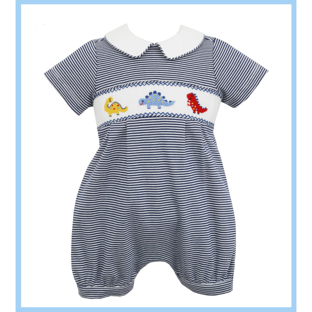Petit Bebe - Dinosaur Boy Knit Bubble Smocked Navy Stripe