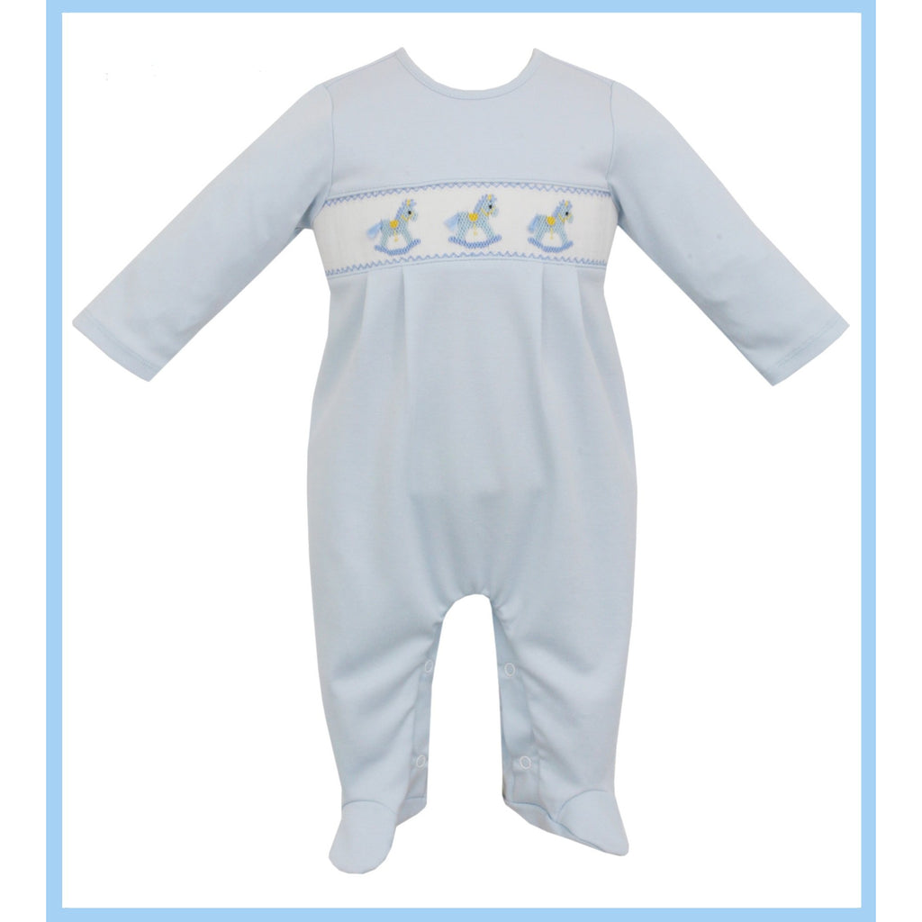 Petit Bebe - Rocking Horse Boy Knit Footie Light Blue