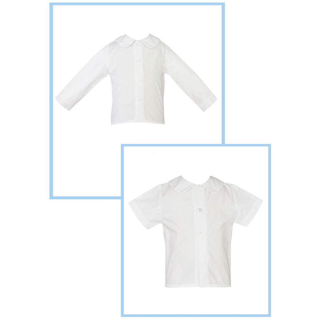 Petit Bebe - Boys Peter Pan Collar White Shirts Long or Short Sleeve