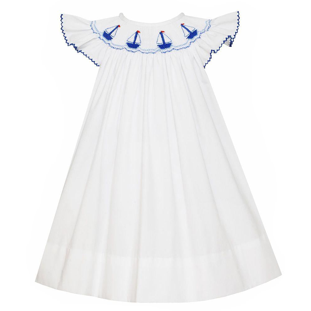 Petit Bebe Sailboats Smocked Bishop Dress