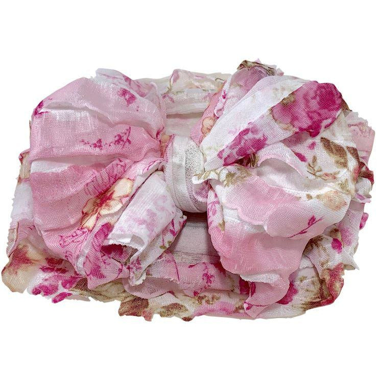 In Awe - Ruffled Headband- Pink Blossom