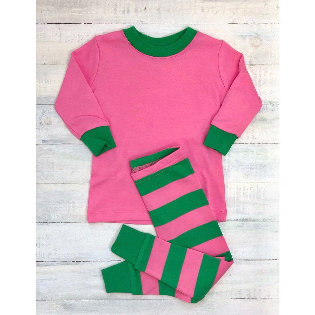 Pink & Green Stripe Pajamas, Monogram Name or Initials Included,