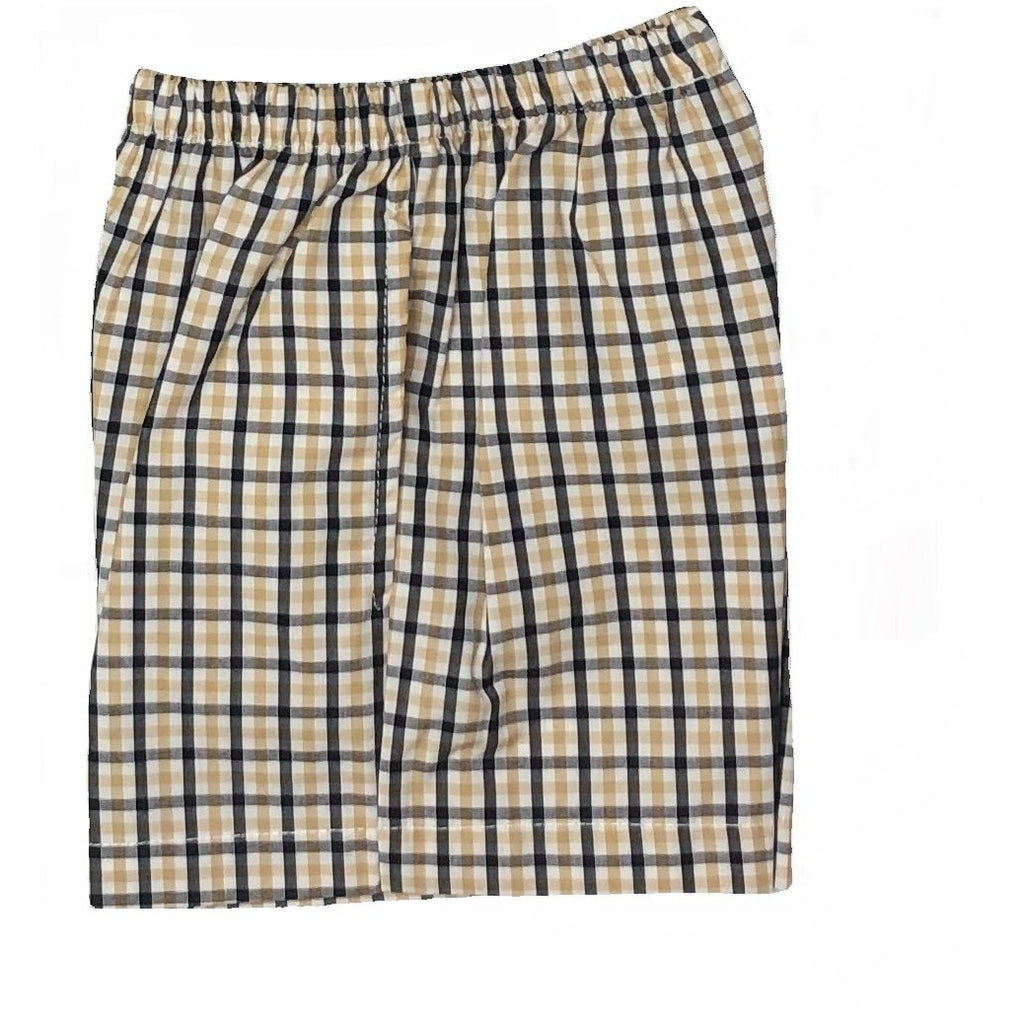 LuLu Bebe - Boys Black & Gold Plaid Shorts, Side Pockets, Elastic Waist