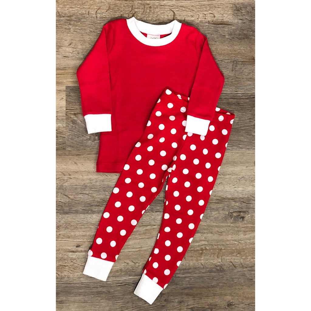 Christmas Red & White Dot Pajamas, Monogram Name or Initials Included,