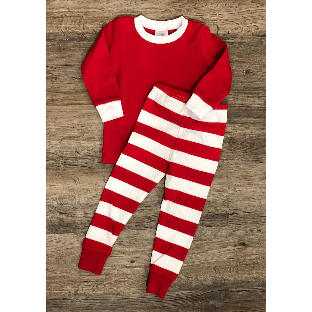 Christmas Red & White Stripe Pajamas, Monogram Name or Initials Included,