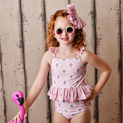 Swoon Baby Two Piece Tunic Swimsuit Pink Roses