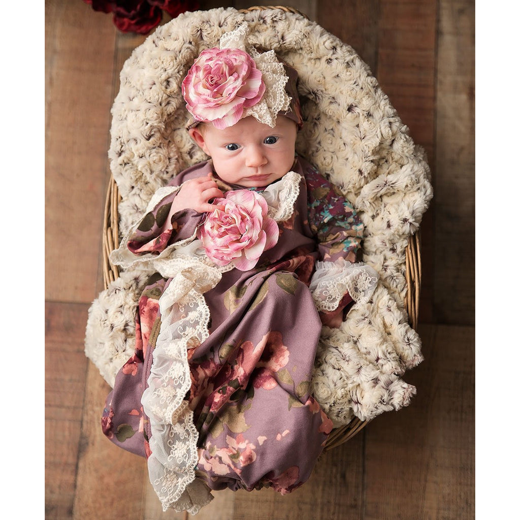 Haute Baby - Sugar Plum Infant Girl Gown, Shades Vintage Purple, Rose, Pink Flowers, Antique Lace