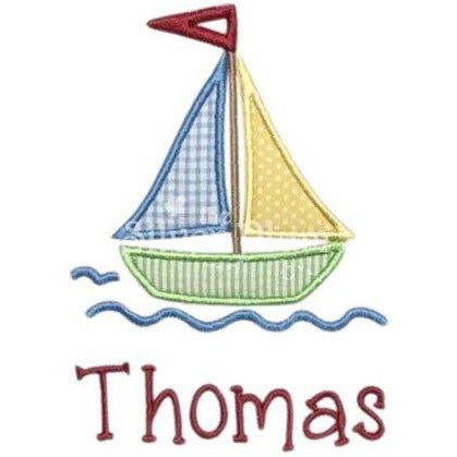Summer - Sailboat with Water, Summer Fun Sailing Applique Design and Personalized Name