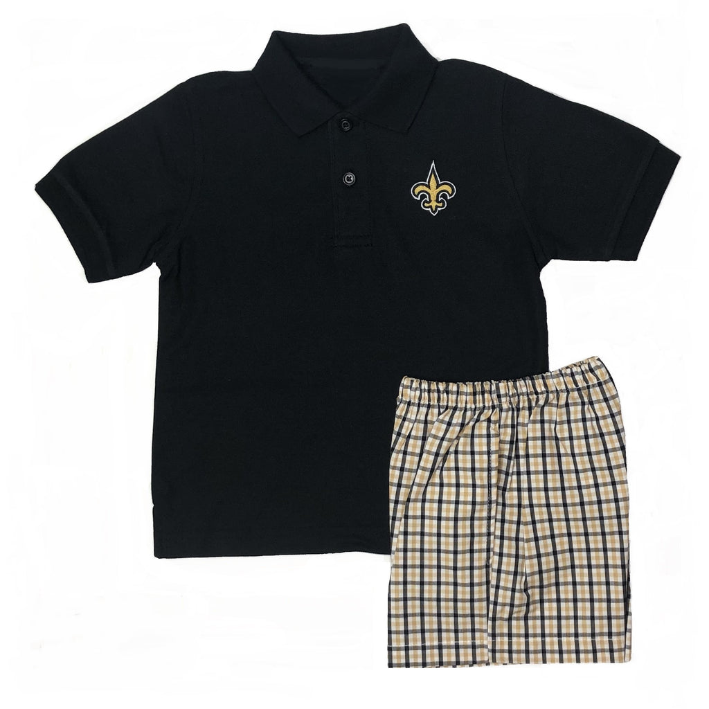 Sports, Saints Boys Black Polo Short Sleeve Shirt, Black & Gold Fleur de' lis, FDL