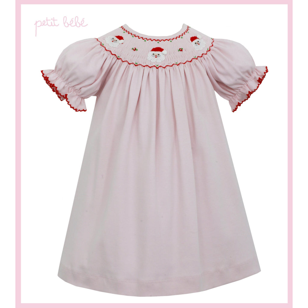 Petit Bebe - Santa Face Smocked on Pink Knit Bishop