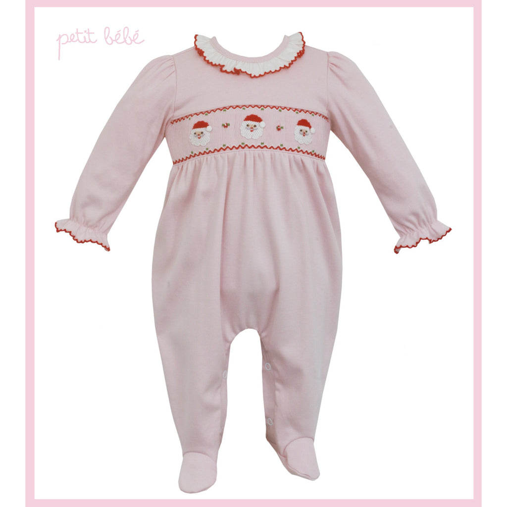 Petit Bebe - Santa Face Smocked Pink Knit Footie