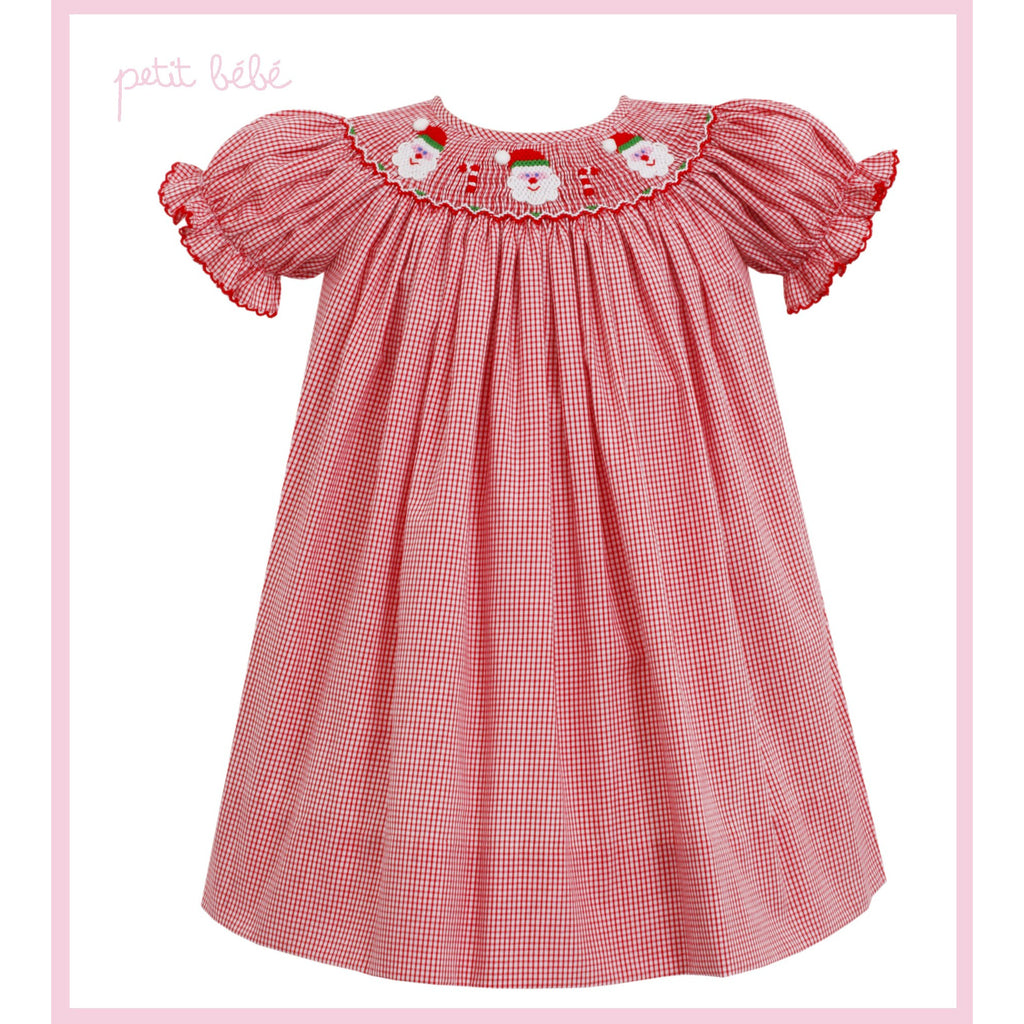 Petit Bebe - Santa Face Smocked Red Check Bishop
