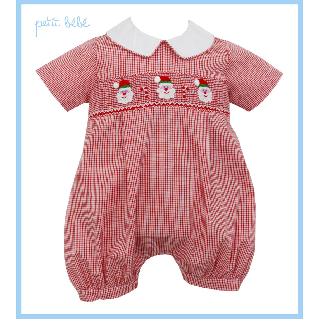 Petit Bebe - Santa Face Smocked Boy Bubble