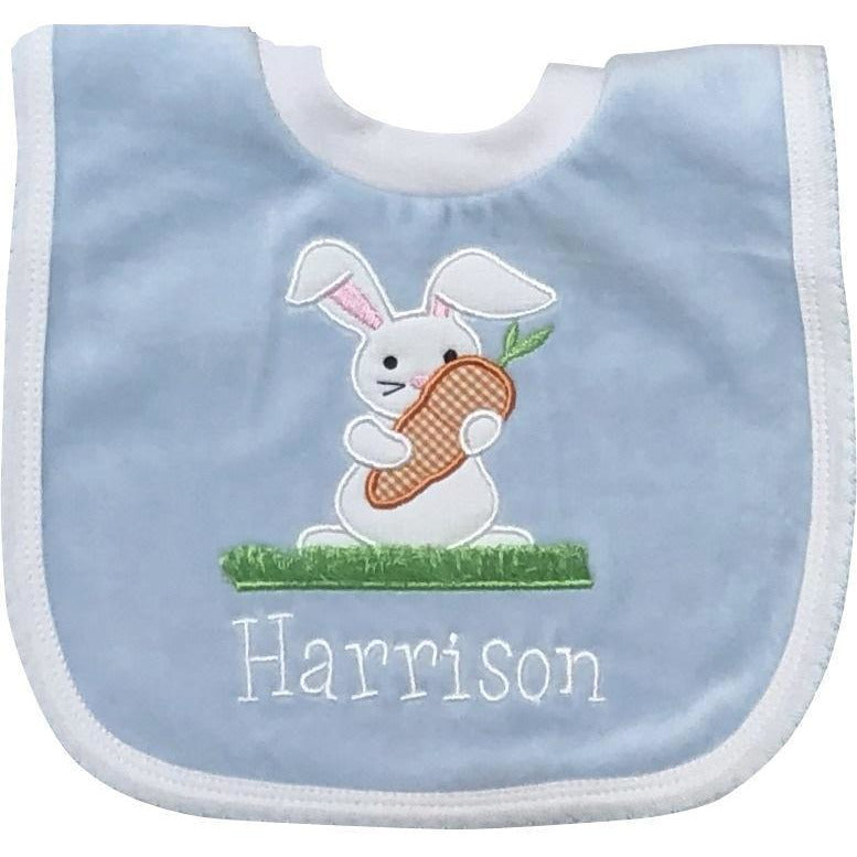Bib - Pullover Velour, Easter Bunny with Carrot Applique on Blue, Pink, White or Yellow