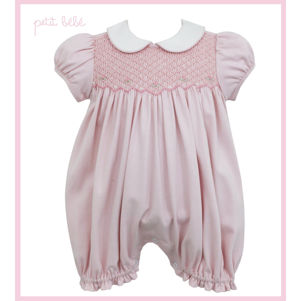 Petit Bebe - Smocked Knit Girls Pink Bubble