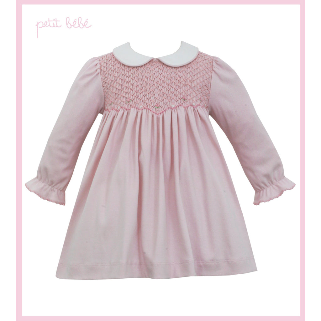 Petit Bebe - Smocked Pink Knit Dress With Collar