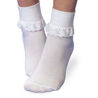 Jefferies Socks - Eyelet Ruffle White
