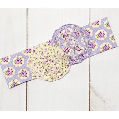 Swoon Baby -  Lavender Meadow, Rosette Knit Headband, Lavender Flowers