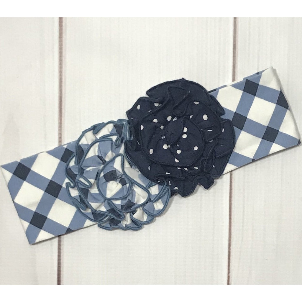 Swoon Baby -  Nantucket Navy Lattice, Rosette Knit Headband