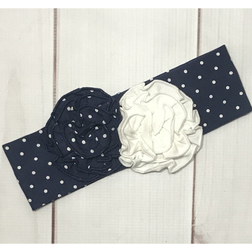 Swoon Baby -  Nantucket Navy & White Dot, Rosette Knit Headband