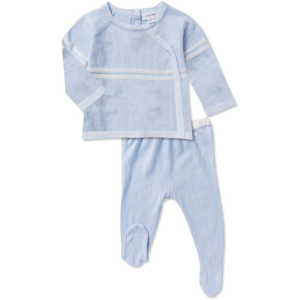 Angel Dear Soft Knit Blue Footed Two Piece Set