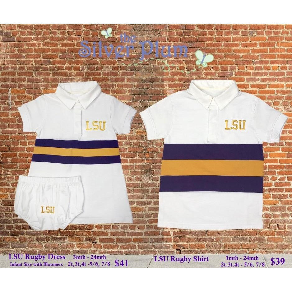 MeMe - LSU White Short Sleeve Rugby Shirt, Purple & Gold Broad Stripe, LSU Monogram