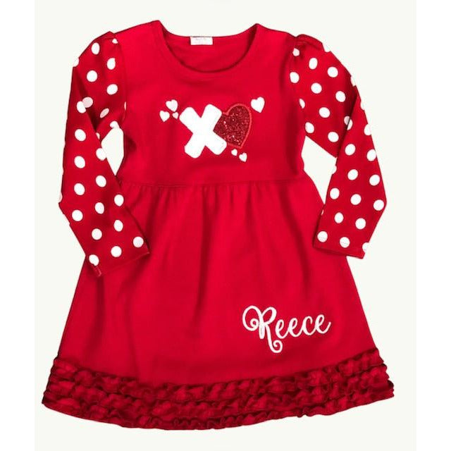 Valentine Heart Applique on Red Dress, Long Sleeve White Dots, Ruffled Bottom