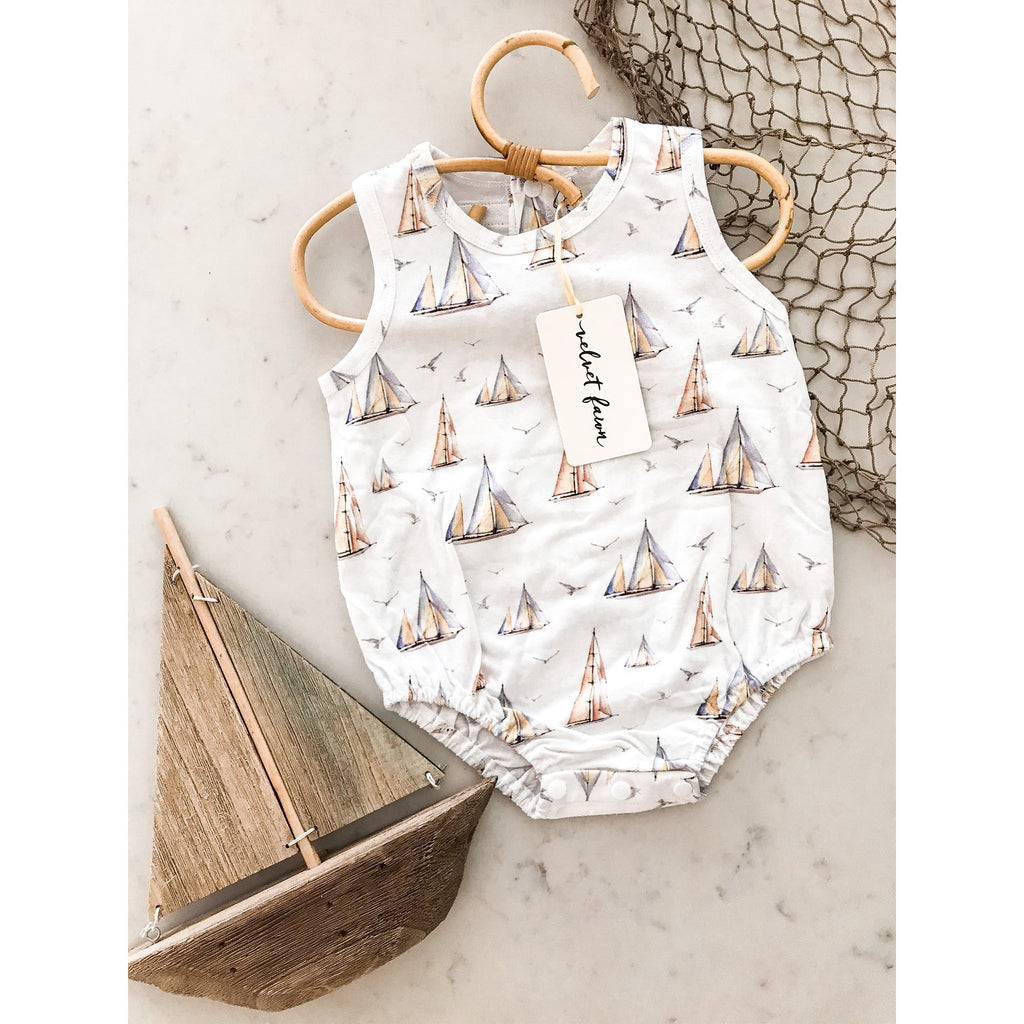 Velvet Fawn - Sailboat Print Boys Bubble
